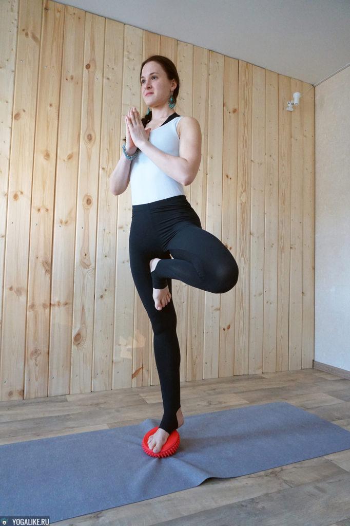 Поза дерева на балансире для йоги