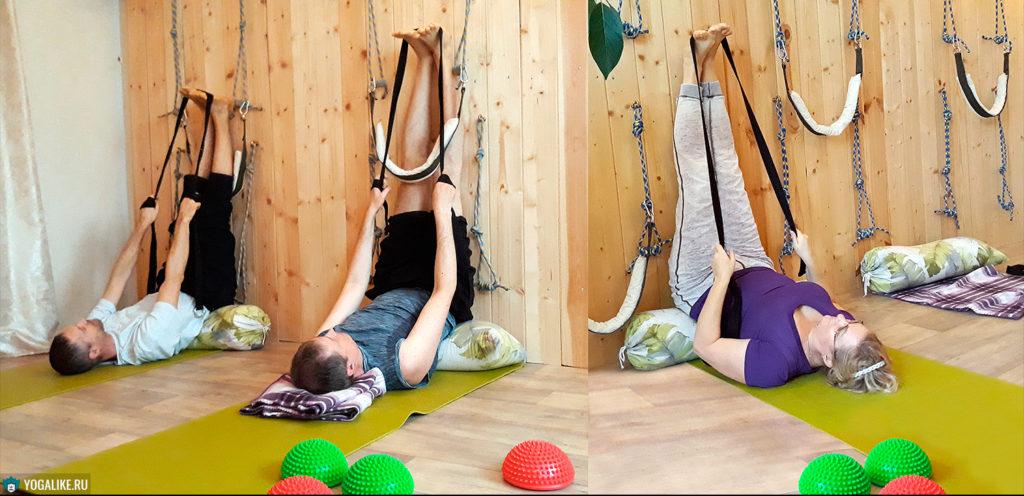 Расслабление поясницы у йога-стены с помощью болстера и ремня. Мякинино