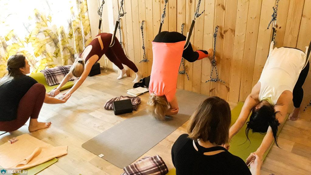 Йога на верёвках - снятие боли в спине. Пенягино